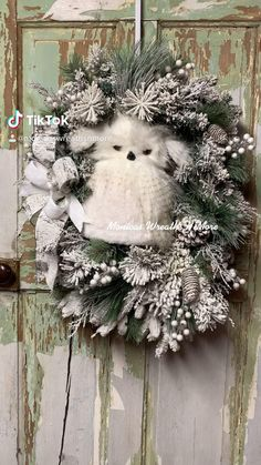 Owl Wreaths, Wreaths For Sale, Wreaths For Front Door, Holiday Wreaths, Winter Wreaths, Wreath Ideas, Front Porch, Farmhouse Christmas Decor, Outdoor Christmas Decorations
