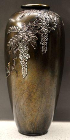 SIGNED Hattori Meiji Japanese Shakudo Shibayama Mixed Metal Bronze & Silver Vase