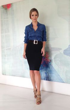 Look-trabalho / job style / camisa jeans / jeans shirt / saia lápis