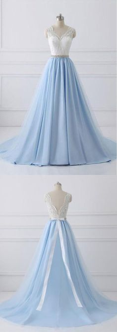 2018 Lace Straps A line Blue Skirt Long Evening Prom Dresses PG583 #promdresses #dress #longprom #homecoming #pgmdress