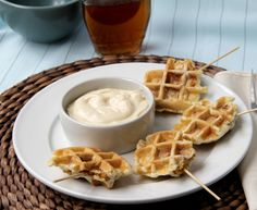 Crispy Chicken Stuffed Waffle Pops with Maple Syrup Dip!