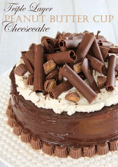 Triple Layer Peanut Butter Cup Cheesecake #instayum #cheesecake #dessert