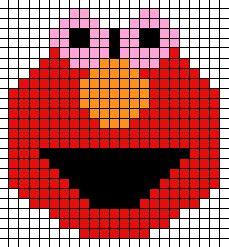 Elmo (Sesame Street) cross stitch chart or perler bead pattern Pearler Bead Patterns, Perler Patterns, Loom Patterns, Beading Patterns, Cross Stitch Patterns, Quilt Patterns, Elmo Bebe, Pixel Art Animals, Arm Crocheting
