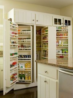 Plenty of pantry room in a compact space- a cooks dream, like a shoe closet for a shoe horse, that's how I | http://room-designs-405.blogspot.com
