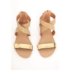 Missguided Gold Detail Crossover Flat Sandal Nude ❤ liked on Polyvore featuring shoes, sandals, flat sandals, nude flat shoes, nude flat sandals, nude shoes and nude footwear