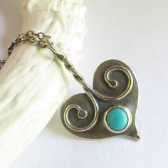 Sterling+Silver+Heart+Necklace++Kingman+Turquoise+by+Mocahete,+$128.00