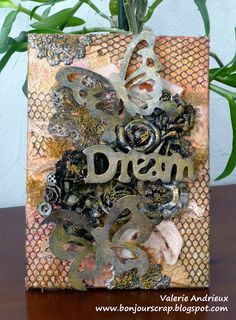 @valeriead Bonjour Scrap !: Mixed Media altered canvas with Tattered Angels Glimmer Mist