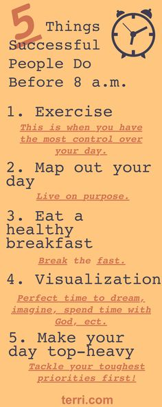 5 Things Successful People Do Before 8 A.M. This is my number one watched podcast on Youtube! Do you ever wonder what the Habits of the successful are?Maybe what a successful persons morning routine looks like vs. the unsuccessful? Here I have given you the top 5 things successful people incorporate in their morning routine! For more, click the pin to watch my FREE Podcast on this topic! For more motivation quotes, weekly podcast and success tips, follow me on Pinterest Terri Savelle Foy.