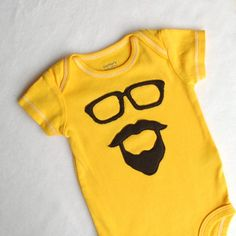 Yellow Hand Dyed Bearded Man Bodysuit 3 months by SquishyBee, $18.00