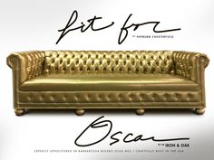 The Hepburn can brighten any room with it's overflowing charm and grace. This luxury Chesterfield features a tufted seat, extra-wide rail, and legendary charisma. Chesterfield Sofa, Leather Fabric, Custom Furniture, Upholstery, Design Inspiration, Iron, Luxury, Metallic, Yellow