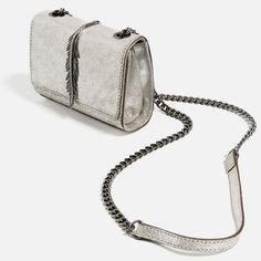 METALLIC LEATHER CROSSBODY BAG from Zara