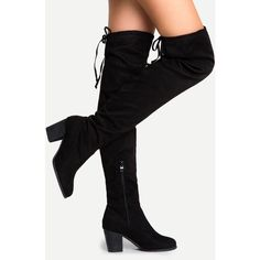 SheIn(sheinside) Black Suede Lace Up Over The Knee Boots ($50) ❤ liked on Polyvore featuring shoes, boots, over the knee suede boots, over-the-knee suede boots, thigh high heel boots, black thigh-high boots and black thigh high boots
