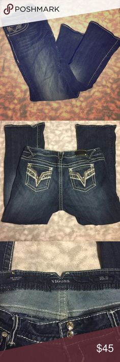 Vigoss The Chelsea bootcut size 22 L 33 Jeans These are extremely lightly worn Vigoss The Chelsea bootcut jeans in size 22 length 33. They have beautiful pockets and are in a flattering dark wash. Vigoss Jeans Boot Cut