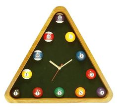 Get this Pool Rack Clock ($26.91): the triangle mimics a pool rack frames the clock, while a simulated green pool table felt backs the clock. Numbered pool balls represent the hours of the day. Cool as in beer.