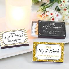 Show wedding guests youre a Perfect Match with these personalized matchbook favors. These personalized matchboxes will surely light up any occasion