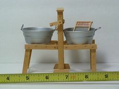 Dollhouse Miniatures Wash Tub Stand Washtubs Artist Handmade Laundry Signed Complete with hand crank center wringer