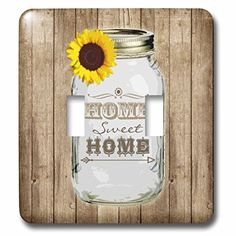 3dRose LLC lsp_128555_2 Country Rustic Mason Jar with Sunflower Home Sweet Home Double Toggle Switch *** Learn more by visiting the image link.