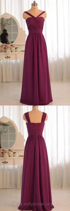 Simple Long Bridesmaid Dresses Purple, Chiffon Pleats Bridesmaid Dress V-neck, Elegant Bridesmaid Dresses Modest Online
