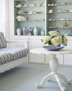 House of Turquoise: Painted Shelves and Cupboards Beach Cottage Style, Beach Cottage Decor, Coastal Style, Coastal Living, Coastal Decor, White Beach Houses, Dream Beach Houses, House Of Turquoise, Home Design