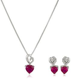 Diamond Earrings Design | Sterling Silver Created Ruby and Diamond Heart Earrings and Pendant Necklace Set 18 * You can find more details by visiting the image link.(It is Amazon affiliate link) #bestoftheday