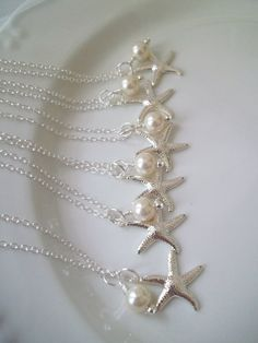 Set Of 6 Bridesmaid Necklaces Swarovski Pearls by Uniquebeadables, $88.00 for your Little Mermaid themed wedding @Lorraine Ariail!