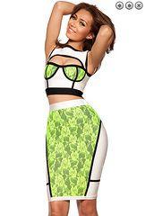 Fresh Green 2 piece lace cut out bandage dress!! Item NO. HG189 http://v.yupoo.com/photos/ocsbandage/albums/14145131/