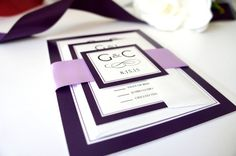 Purple Monogram Wedding Invitation by KraftWeddingPapers #monogramwedding #purpleinvites
