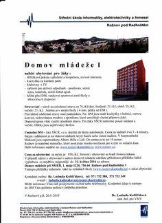SŠCR - domov mládeže, informace 2015