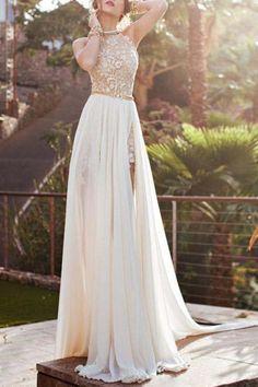 Halter Backless High Slit Maxi Dress WHITE: Maxi Dresses | ZAFUL