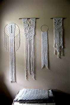 Macrame Wall Hanging Natural White Cotton Rope w/ by BermudaDream