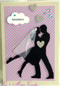 carte de félicitations de mariage avec couple de mariés et tulle