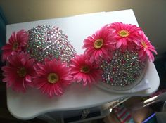 Pink and White Disco Daisy Bra 34b by NewRaveCouture on Etsy