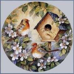 Beautiful birds and birdhouse China Painting, Tole Painting, Motifs Animal, Decoupage Paper, Decoupage Vintage, Bird Pictures, Bird Art, Vintage Cards, Bird Feathers