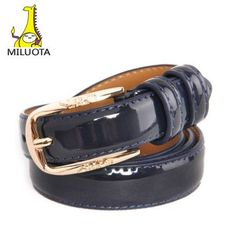 [MILUOTA] Genuine Leather women belt brand cintos femininos designer belts fashion Metal pin buckle belts for women AW1092