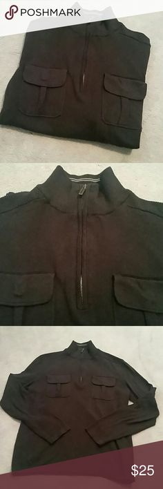 "Men's Kenneth Cole Black Half Zip sz Lrg Excellent Condition from a smoke and pet free home  Half - zip (turtleneck if zipped up) pull on with two front pockets, textured shoulders, loose bottom hem. 100% cotton  Approx Measurements  Length 24.5"" Sleeve length 25"" Kenneth Cole Shirts Tees - Long Sleeve"