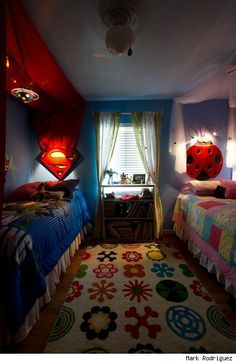 twin girls who love superman and butterflies respectively get the ultimate bedroom what