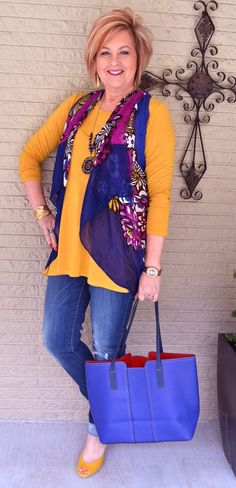 50 Is No Old   Spring In My Step   Spring Outfit   Vest from a scarf   Fashion over 40 for the everyday woman