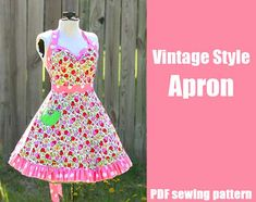 How to Design and Sew a Slipcover, Part 1 – DIY Home Decor Tutorial « DiY crafts, free sewing tutorials & kickass clothing patterns – WhatTh. Vintage Apron Pattern, Retro Apron, Aprons Vintage, Vintage Sewing Patterns, Clothing Patterns, Apron Patterns, Pdf Patterns, Dress Patterns, Style Retro