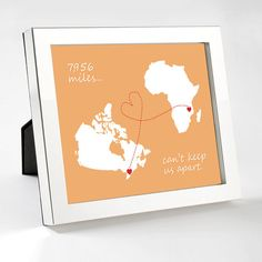 Hey, I found this really awesome Etsy listing at https://www.etsy.com/listing/129897584/the-miles-cant-keep-us-apart-state-map