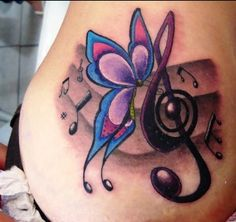 Butterfly and music notes