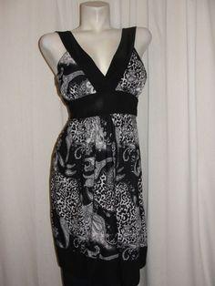 NWT Annabelle Black White Paisley Animal Print X-strap Tie Back Dress Size M…