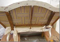 How to Upholster a Settee – Uniquely Yours… or Mine! Refurbished Furniture, Furniture Makeover, Painted Furniture, Furniture Ideas, Small Dressing Table, Vintage Settee, Craft Projects, Projects To Try, Decor Crafts