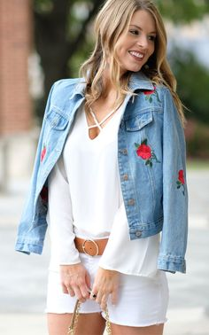 #spring #outfits  Denim Flower Embroidered Jacket & White Top & White Denim Short