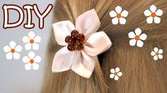 DIY Easy Kanzashi Flower Tutorial - How To Make 5 Petals Ribbon Flower H...