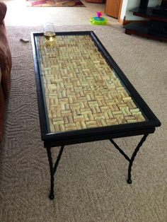 wine cork customized ethan allen wood glass top coffee table