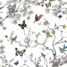 Schumacher BIRDS AND BUTTERFLIES MULTI ON WHITE Fabric