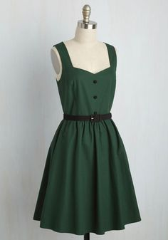 Keeping a casual pace, you breeze through the city center atop your bike in this adorable A-line. Part of our ModCloth namesake label, this green and black frock features pockets and a sleek belt, so while you revel in the architecture all around you, the locals indulge in the sight of your style!