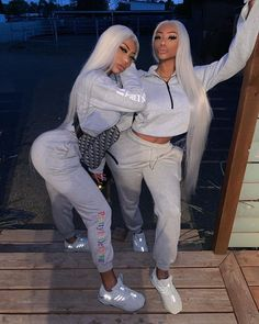 Image may contain: 2 people, people standing and shoes Matching Outfits Best Friend, Best Friend Outfits, Best Friend Goals, Cute Swag Outfits, Girl Outfits, Fashion Outfits, Fashion Wigs, Clermont Twins, Gangster Girl