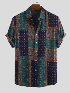 Mens Vintage Shirts, Vintage Shorts, Casual Tops, Casual Shirts, Men Casual, Camisa Floral, Mens Printed Shirts, African Tops, African Style