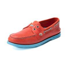 Mens Sperry Authentic Original Slip-On Boat Shoe in Orange Blue